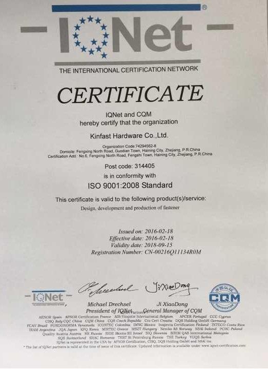 Company Certificates Kinfast Hardware Co Ltd